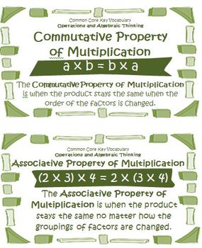 Math Operations and Algebraic Thinking Vocabulary Cards