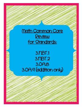 Math Common Core Review 3.NBT.1-2; 3.OA.8-9
