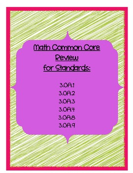 Math Common Core Review 3 Oa 1 4 8 9 By Ashley Loftus Tpt