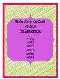 Math Common Core Review 3.OA.1-4; 8-9