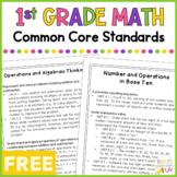Math Common Core Standards - 1st Grade