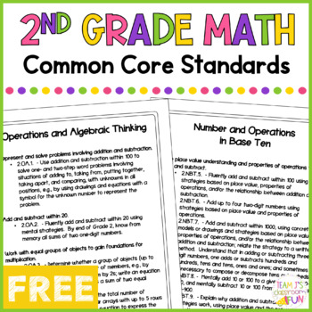 Math Common Core Standards - 2nd Grade