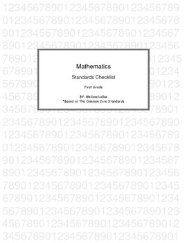 Math Common Core Standards Checklist First Grade