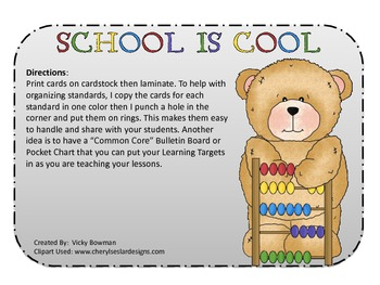 """Math Common Core Standards & """"I CAN.."""" Cards-Kindergarten"""