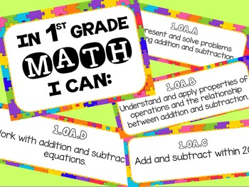 Math Common Core Standards Posters for First Grade (1st)