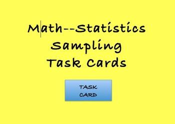 Math Common Core Statistics Sampling Task Cards