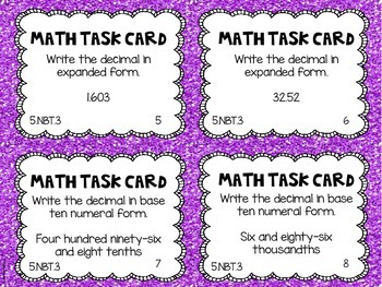 Math Common Core Task Cards 5th Grade CCSS 5.NBT.3
