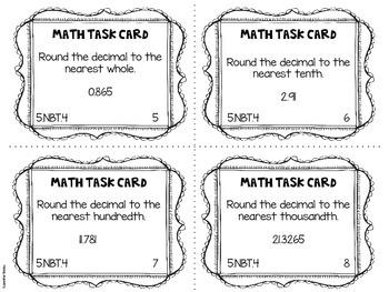 Math Common Core Task Cards 5th Grade 5.NBT.4 {Rounding Decimals}