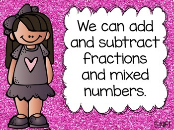 Math Common Core Task Cards 5th Grade 5.NF.1 (Add and Subtract Fractions)