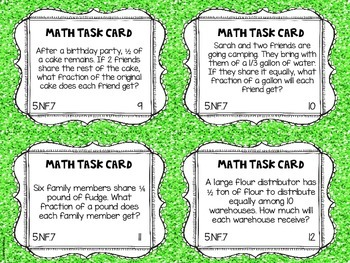 Math Common Core Task Cards 5th Grade CCSS 5.NF.7 Dividing With Fractions