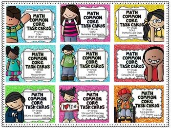5th Grade Math Task Cards Complete Set {Common Core Aligned}