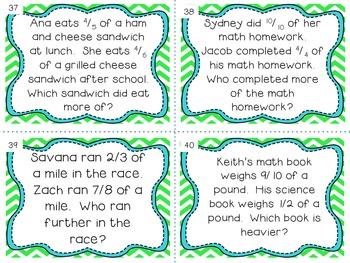 Math Common Core Task Cards Numbers and Operations: Fractions Grade 4
