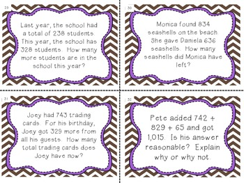 Math Common Core Task Cards Numbers and Operations in Base Ten Grade 4
