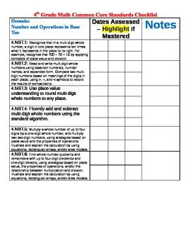 Math Common Core Tracking Sheet Grade 4 Checklist