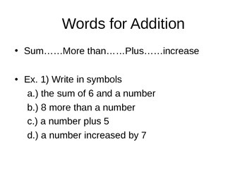 Math Common Core Translating Words Into Symbols PowerPoint
