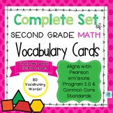 Math Common Core and enVision Program Vocabulary Cards for Grade 2