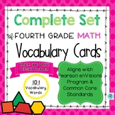 Math Common Core and enVision Program Vocabulary Cards for Grade 4