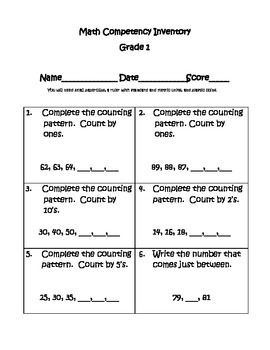 Math Competency Inventory Test - Grade 1