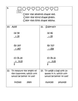 Math Competency Inventory Test - Grade 2