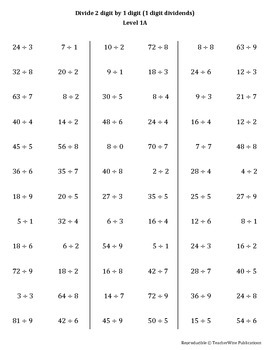 Math Computation Remediation Series: Division Levels 1 – 4