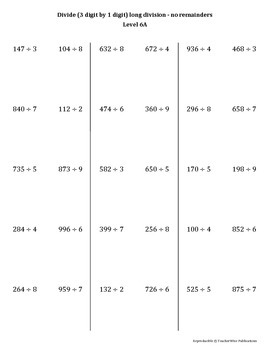 Math Computation Remediation Series: Division Levels 5 - 8