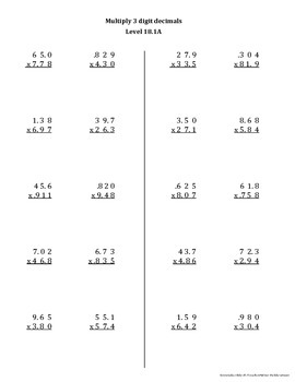 Math Computation Remediation Series: Multiplication Levels 17 - 20