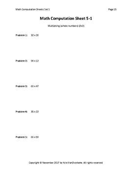 Math Computation Sheets - Set 1 - Addition, Subtraction, Multiplication