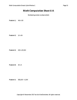 Math Computation Sheets - Spiral Review 1 - Add, Subtract, Multiply