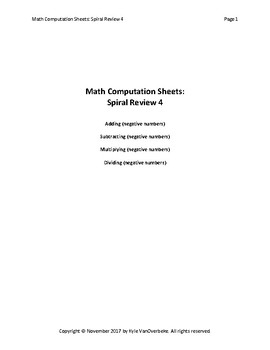 Math Computation Sheets - Spiral Review 4 - Negative Numbers - Add, S., M., D.