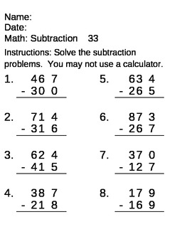 Math Computation Skills - subtraction of 2 and 3 digit numbers