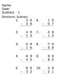 Math Computation- subtracting 2 and 3 digits - repeated practice