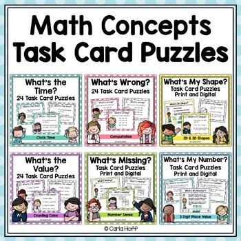Place Value, Geometric Shapes, Money, Number Sense Task Cards - Bundle!