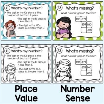 Place Value, Geometric Shapes, Money, Number Sense, Time Task Cards - Bundle!