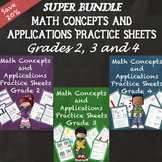 Math Concepts and Applications MCAP Practice Sheets Bundle Grades 2, 3, and 4