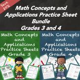 Math Concepts and Applications MCAP Practice Sheets Bundle Grades 3 and 4