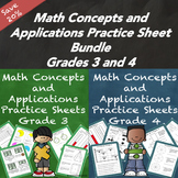 Math Concepts and Applications MCAP Practice Sheets Bundle Grades 3 and 4