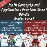 Math Concepts and Applications MCAP Practice Sheets Bundle Grades 4 and 5