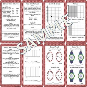 Math Concepts and Applications MCAP Practice Sheets Bundle Grades 4 and 5