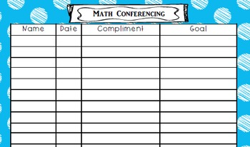 Math Conferencing Sheet - Double Sided