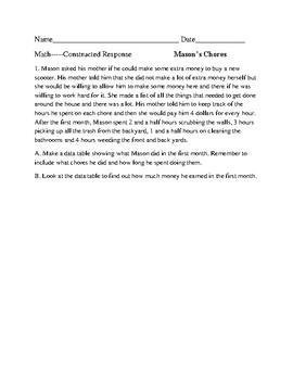Math Constructed Response Passage and Q's