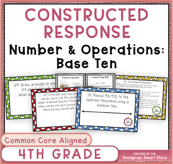 Common Core Constructed Response Problems-4th Numbers & Op
