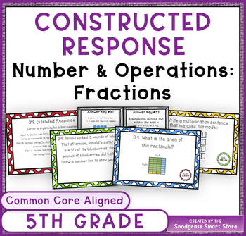 Math Constructed Response Word Problems: 5th Fractions (NF)