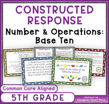 Common Core Constructed Response Problems- 5th Numbers & Ops Base Ten (NBT)