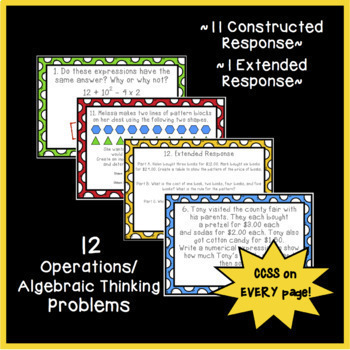 Math Constructed Response Word Problems: 5th Operations/Algebraic Thinking (OA)