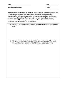 Math Constructed Responses - 6th grade