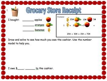 Math Constructive Response Grocery Store Receipt
