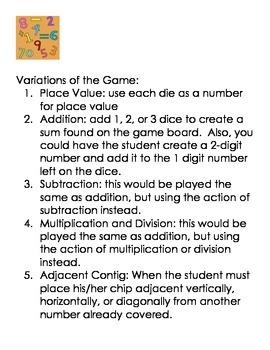 Math Contig Game