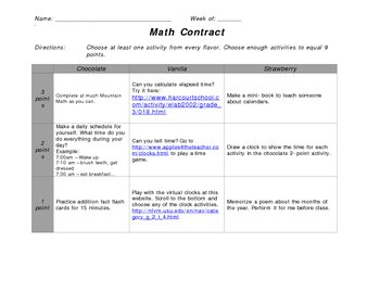 Math Contract - Calendars and Telling Time