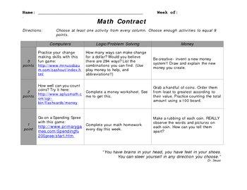 Math Contract - Money