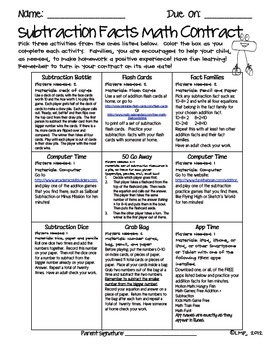 Math Contracts for Subtraction Facts {Homework to Master Math Facts}